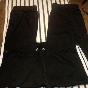 Womens black sweat capri's w/white stripe size 12